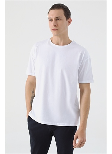 TWN Oversize Düz T-Shirt Beyaz